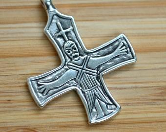 Silver VIKING CROSS Jesus & Maria, replica from Finland
