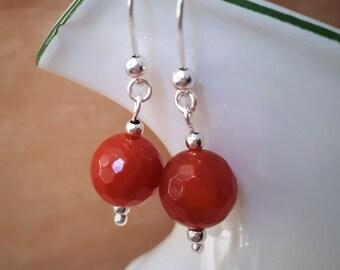 Silver Carnelian Earrings - Sterling Silver replica Ancient Roman Renaissance Style