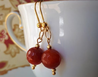 Gold Carnelian Earrings - Gilded Sterling Silver replica Ancient Roman Renaissance Style