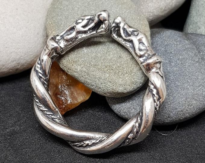 Silver Viking Wolf Head Ring Fenrir