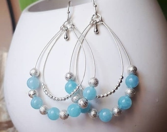 Silver Aquamarine Earrings - Ancient Roman Boho Gypsy Style dangle earrings