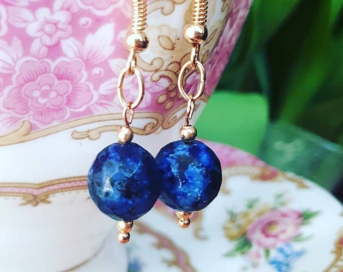 Gold Gilded Lapis Lazuli Earrings - Ancient Roman Renaissance Style