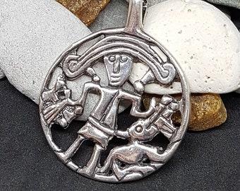 TYR and FENRIR Pendant Silver replica from Kungsangen, Uppland, Sweden bracteate