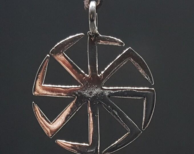 Silver Kolovrat Pendant, Slavic Sun Symbol, svarog, talisman, symbol, amulet, pagan, hand made