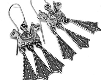 Silver Horse Earrings, Pagan Slavic Earrings replica from Novogrod, Russia