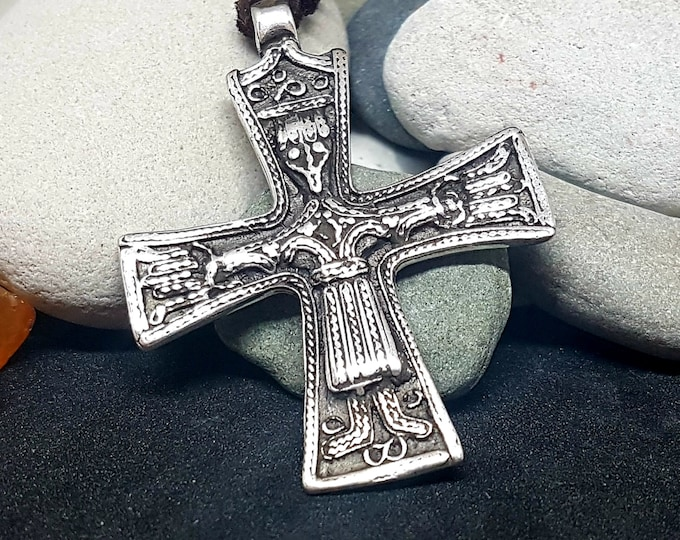 Silver VIKING CROSS, replica from Trondheim, Norway