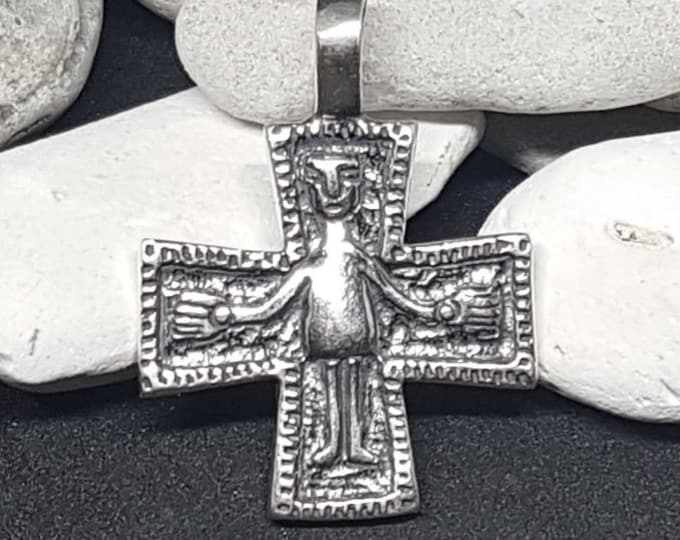 Silver Medieval Cross pendant, Byzantine CRUCIFIX replica from Wroclaw, Poland