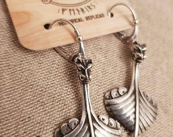 Silver DRAKKAR earrings, Viking ship earrings