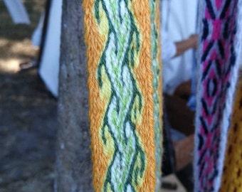 Tablet woven belt, strap,100% wool, tablet weave, medieval pattern, 20 mm strap