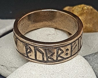 Bronze Viking Runic Ring - Thor gives you good luck