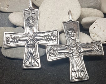 Silver VIKING CROSS Jesus & Maria, replica from Finland