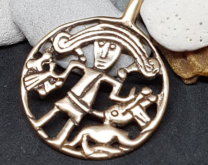 Bronze Tyr and Fenrir pendant replica from Kungsangen, Uppland, Sweden bracteate