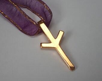 Rune ALGIZ Gold Pendant - Norse Elder Futhark