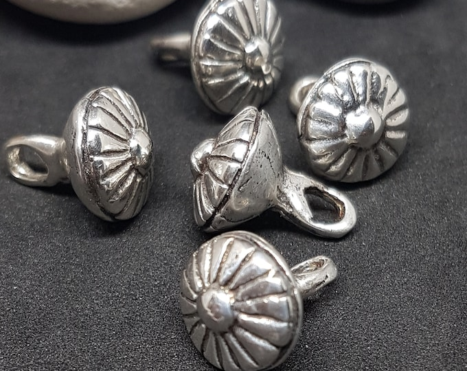 Silver set of 5 BUTTONS replica from Birka, Bjorko, Sweden - multi line pattern