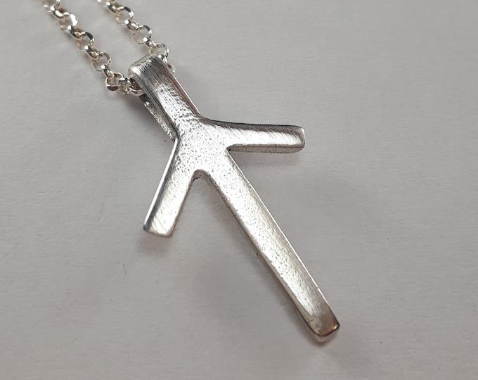 Rune TIWAZ Sterling Silver Pendant - Norse Elder Futhark