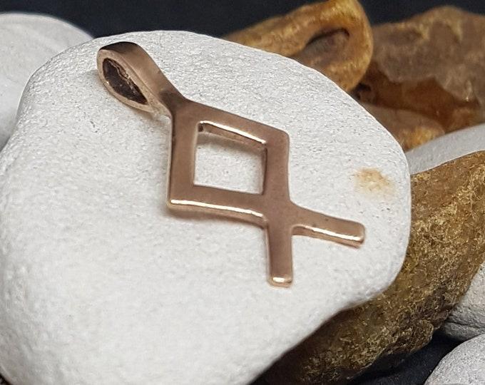 Rune OTHALA Bronze Pendant - Norse Elder Futhark