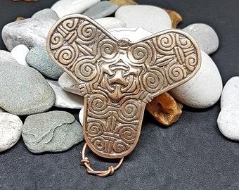 Bronze TREFOIL VIKING BROOCH, replica from Latvia