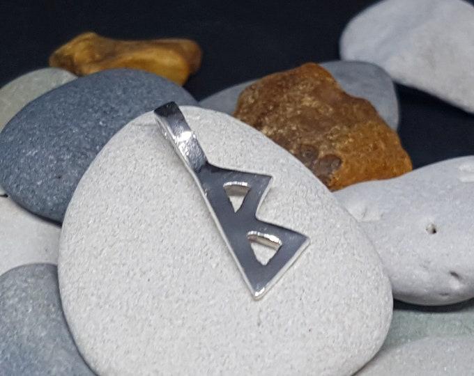 Rune Pendant BERKANO Sterling Silver Norse Elder Futhark