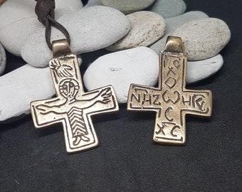 Bronze BYZANTINE CROSS, crucifix replika from Great Moravia