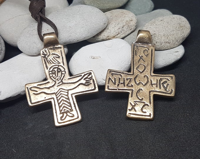 Bronze BYZANTINE CROSS, crucifix replika from Grerat Moravia