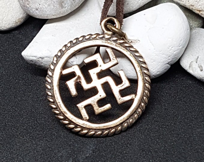 Bronze THUNDERSTORM Pendant, Slavic Sun Symbol from Latvia