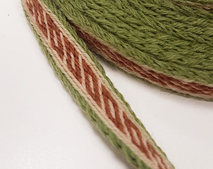 Tablet WOVEN RIBBON Oseberg, Norway pattern from 100% wool 1,1 cm width