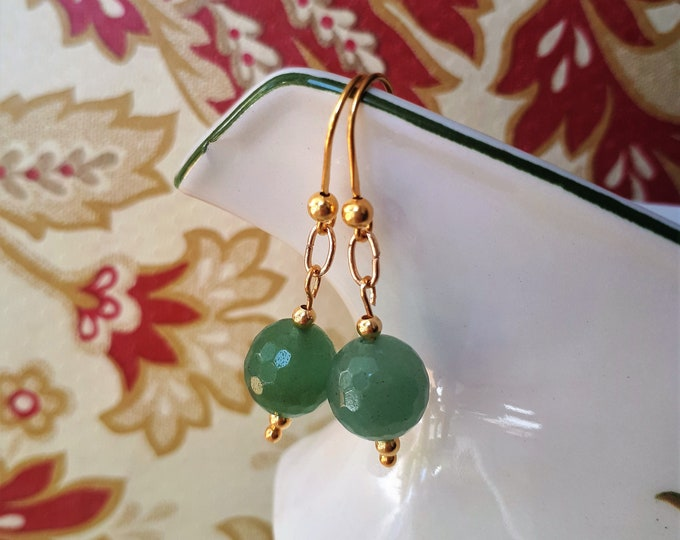 Gold Aventurine Earrings - Gilded Sterling Silver replica Ancient Roman Renaissance Style - Good Luck Stone
