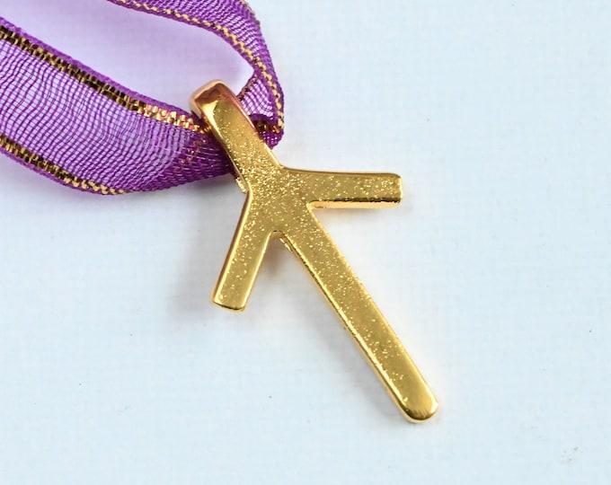 Rune TIWAZ Gold Pendant - Norse Elder Futhark