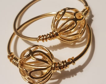Byzantine gold temple rings - set of 2 replika from Mala Prespa, Modern Greece