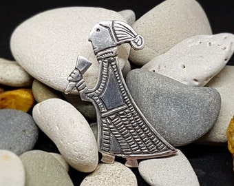 VALKYRIE Pendant with horn Silver Replica from Birka, Uppland, Sweden