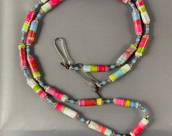 Glasses necklace, glasses lanyard, multi-colored lanyard, Face Mask Lanyard, Handmade lanyard, handmade paper bead necklace, handcrafted
