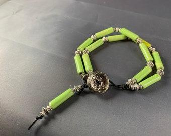 Green paper bead bracelet, paper bead jewelry, bohemian jewelry, bohemian bracelet, handcrafted jewelry, handmade bracelet, unique bracelet