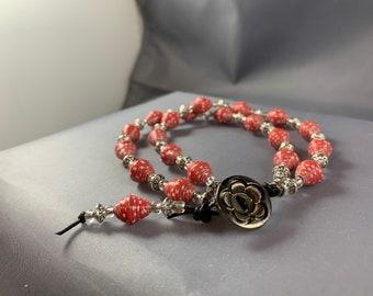 Red paper bead bracelet, Valentine Bracelet, bohemian bracelet, bohemian jewelry, handcrafted bracelet, handmade jewelry, unique bracelet