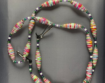 Face mask lanyard face mask necklace with handmade paper beads glass metal beads Don't lose your mask again Mask not included Made in USA.
