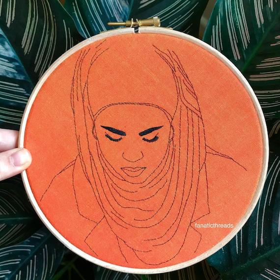 Skam Sana Bakkoush Original Line Art Embroidery 7 Inch Hoop Hijabi Illustration Girl Fanart Fandom Muslim Portrait Orange