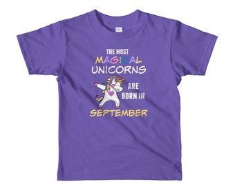 9f0a262b2 Girls Birthday Unicorn Shirt, September Unicorn Shirt, Most Magical Born In  September, Rainbow Unicorn Shirt, Kids Birthday Dabbing Unicorn