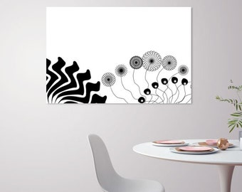 Black and white - Flowers - Wall Art Print - Digital instant download - Home Decor