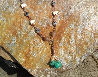 Hand wrapped wire and Turquoise necklace