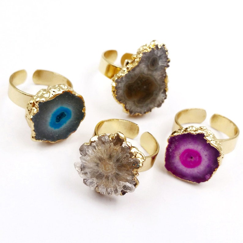R300  Irregular Shape Natural Stalactite Quartz Rings Brass with 24K Gold Plated Fashion Women Jewelry