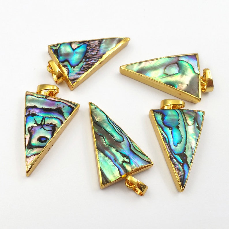 P777 Sparkly abalone shell pendant  gold trim pendant for wholesale nice quality abalone shell pendant