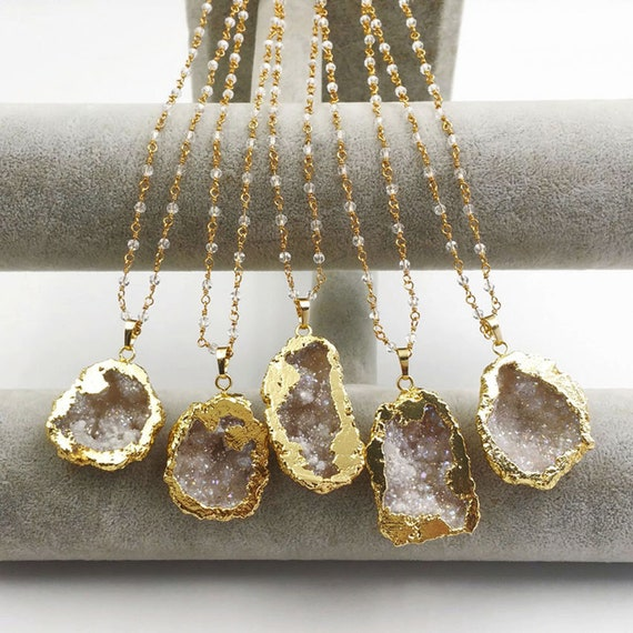 P1393 Irregular Shape Natural Druzy Agate With Gold Trim Pendant Bohemia Gift For Her Women Fashion Necklace Pendant