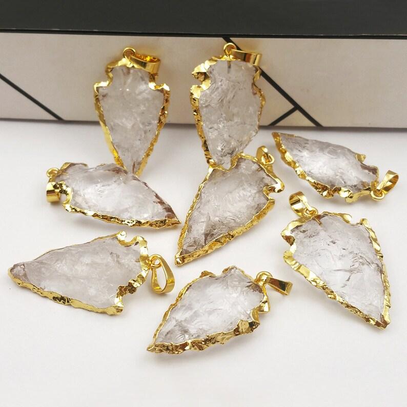 P309 Wholesale Hot Crystal Arrowhead quartz Pendant Charm in 24k gold dipped raw stone crystal quartz pendant for women