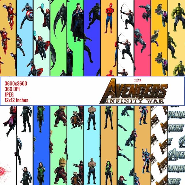 digital paper avengers scrapbook paper background patterns etsy