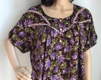 3df0dc7e372b Vintage Lightweight Leaf Printed Cotton House Dress Muumuu L