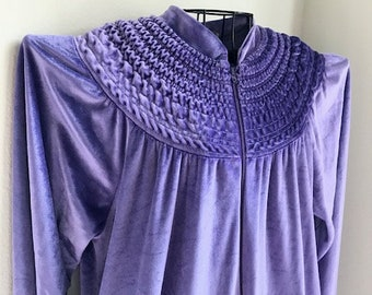 Vintage X-Pressions Velvety Royal Purple House Coat with Zipper Front Size Lg