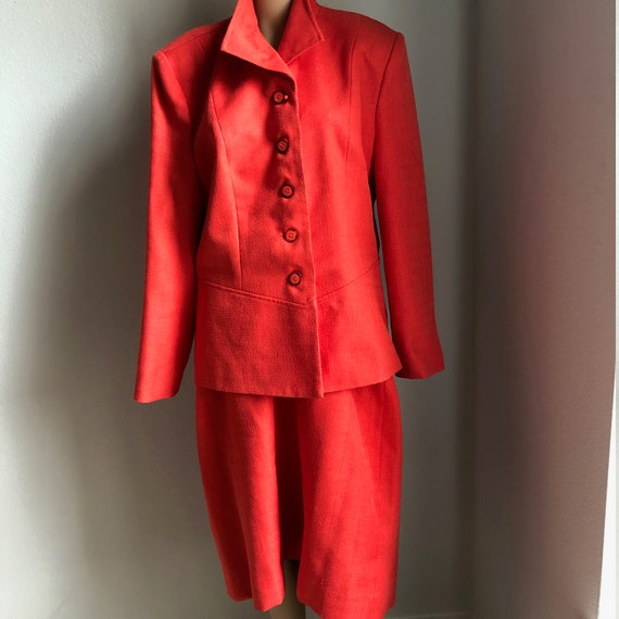 Vintage Womens Plus Two Piece Suit in Bright Orang