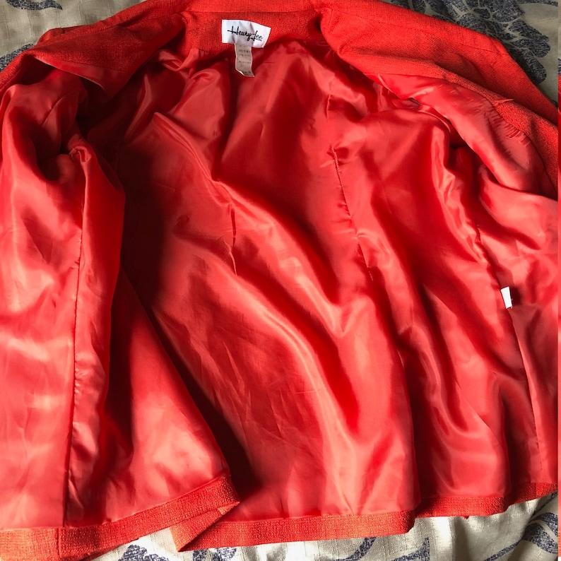 Vintage Womens Plus Two Piece Suit in Bright Orange Size 16