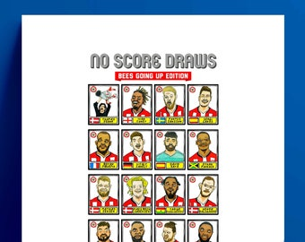 Brentford Vol 2 - No Score Draws Bees Going Up Edition - A3 print of 24 hand-drawn Panini-style Brentford 20-21 playoff-winners - wonky art