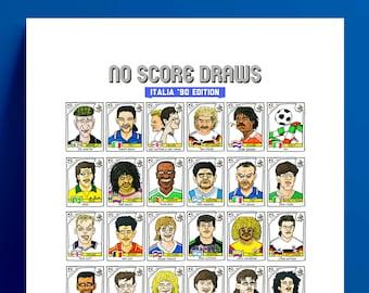 Italia '90 - No Score Draws Italia '90 Edition - A3 print of 36 hand-drawn Panini-style football sticker legends - Cheapskate football art