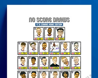 England Vol 2 - No Score Draws It's Coming Home Edition - A3 print of 27 Panini-style wonky doodles of the Three Lions' Euro 2020 heroes